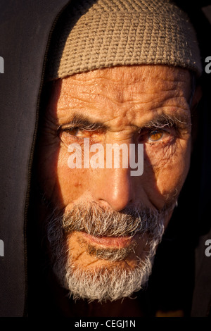 Portrait of a elderly man, Marrakesh, Morocco - Stock Photo
