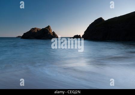Twilight at Soar Mill Cove, South Devon. - Stock Photo