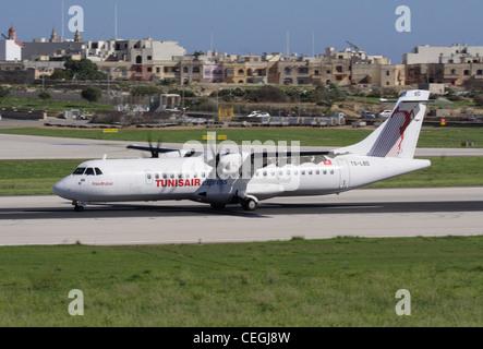 Short haul air travel. Tunisair Express ATR 72-500 turboprop regional airliner - Stock Photo