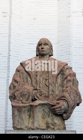 Santa Fé, Granada, Andalucia, Spain. Statue of Christopher Columbus , 1451 – ,1506. Italian explorer, colonizer, - Stock Photo