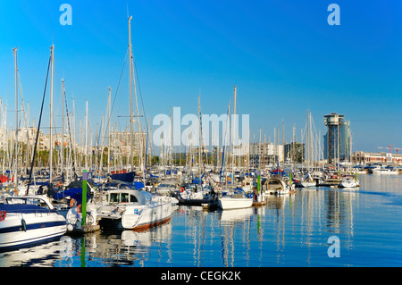 Sunset at the marina in Port Vell, Barcelona, Spain. - Stock Photo