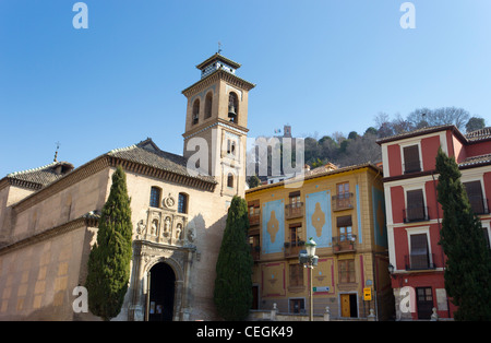 Granada, Andalucia, Spain. Plaza Santa Ana Iglesia de Santa Ana y San Gil, Alhambra Palace in background. - Stock Photo