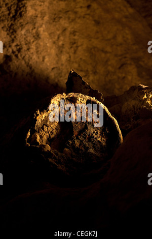 Remains of a pot at the ancient underground Hezekiah's Tunnel or the Siloam Tunnel built at the end of the 1st century - Stock Photo