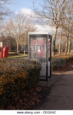 Vandalised telephone box - graffiti - Stock Photo