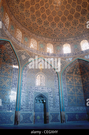 Sheikh Lotf Allah Mosque. Mirhab and dome of the prayer hall. Isfahan. Islamic Republic of Iran. - Stock Photo