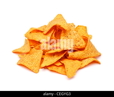 Pile of tortilla chips on white background - Stock Photo