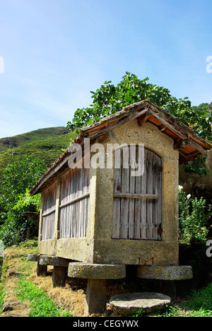 Espigueiros - old and typical warehouse to store maize and spike (Portugal) - Stock Photo