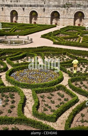 Formal gardens in the Monastery of San Lorenzo de El Escorial, Comunidad de Madrid, Spain. - Stock Photo