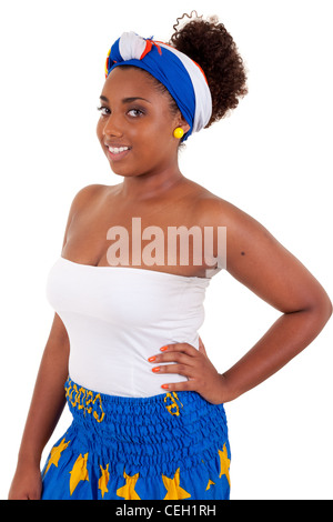 Beautiful african teenage girl wearing traditional clothes, isolated on white background - Stock Photo