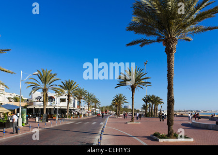 Cafes and restaurants along the promenade outside Agadir Marina, Agadir, Morocco, North Africa - Stock Photo