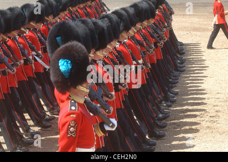 The official birthday of Queen Elizabeth II is marked each year by a military parade and march-past, known as Trooping - Stock Photo