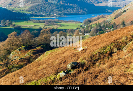 Patterdale and Glendding and Ullswater Head, looking down from on Angle Tarn Fells, January, Patterdale area, Lake - Stock Photo