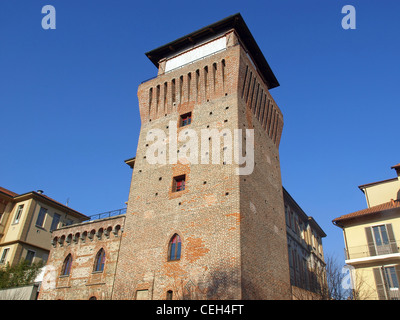 Tower of Settimo Torinese ( Torre Medievale ) medieval castle near Turin - Stock Photo