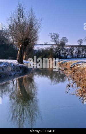 River Avon in Winter - Wiltshire - Stock Photo