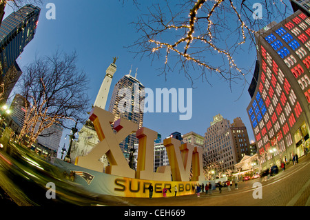 Super Bowl ,Roman Numeral, Downtown Indianapolis, Indiana, Monument Circle, Fish eye Lens , Night Lights - Stock Photo