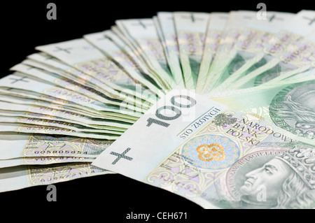 Fan of many hundreds polish zloty banknotes - Stock Photo