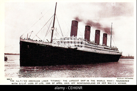 The Ill-Fated Titanic, 1912 postcard issued to mark the maritime disaster when the liner hit an Iceberg off Newfoundland - Stock Photo