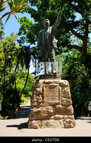 Statue of Cecil Rhodes in Company's Garden, Cape Town, Western Cape, South Africa - Stock Photo