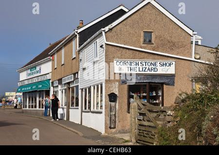 Lizard, Cornwall, England, UK. Gift shop selling souvenirs and Cornish stone - Stock Photo