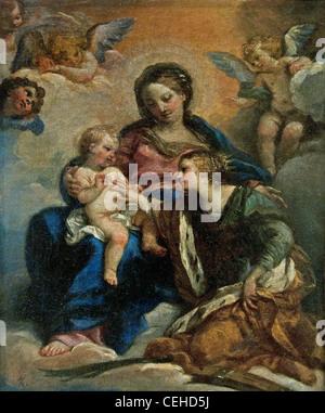 Le Mariage mystique de Sainte Catherine The Mystic Marriage of St. Catherine Giuseppe Passeri 1654 -1714 - Stock Photo
