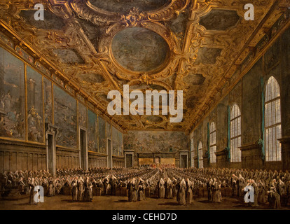 Doge Alvise Mocenigo IV 1701 78 Giving a Banquet for the Ambassadors in Venice  by  Francesco Guardi Italian Italy - Stock Photo