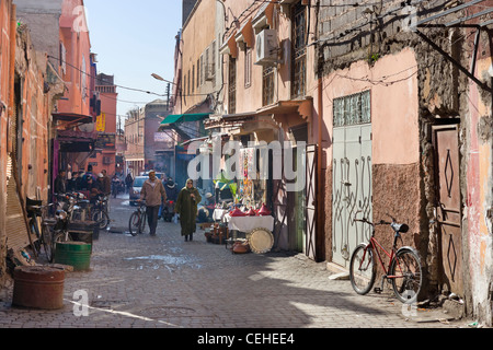 Side street in the Medina district, Marrakech, Morocco, North Africa - Stock Photo