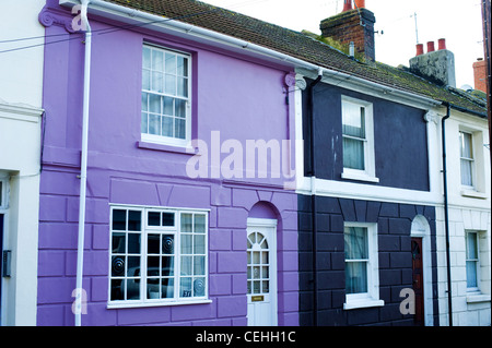 colourful town house in row of terraced houses, the north lanes, brighton, england, uk - Stock Photo