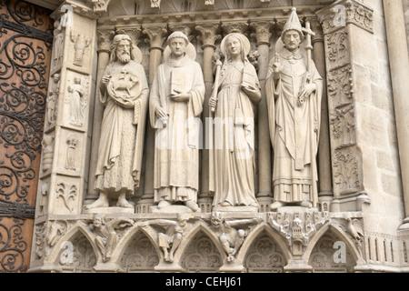 Saint John the Baptist, Saint Stephen, Sainte Genevieve, and Saint Sylvester - Stock Photo