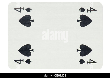 playing cards poker cut outs white background - Stock Photo