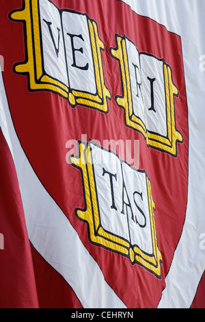 Harvard University's crimson flag on May 21, 2011, a few days before the Commencement ceremonies - Stock Photo