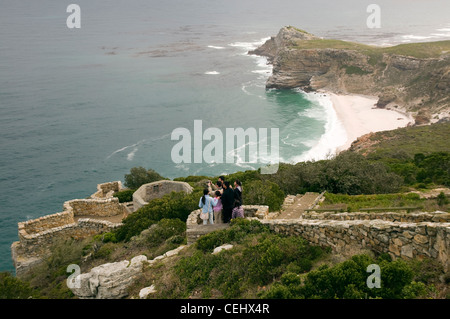 Tourists walking at Cape Point,Cape Town,Western Cape Province - Stock Photo