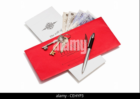 A will document, British banknotes and house keys Stock Photo
