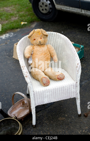 Shabby antique teddy bear, Ardingly antiques fair, West Sussex, England, UK - Stock Photo