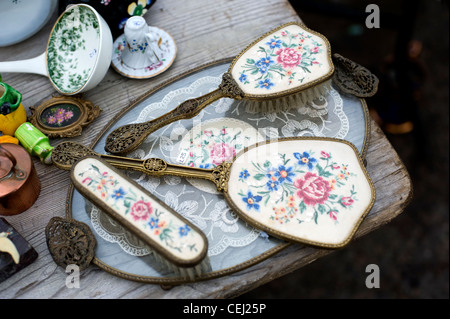 Antique vanity set, with mirror and brush, Ardingly antiques fair - Stock Photo