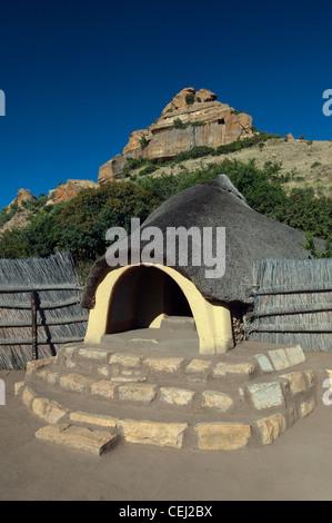 Basotho hut,Basotho Cultural Village,Eastern Free State Province - Stock Photo