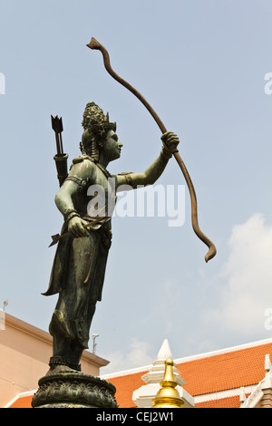 statue of vishnu holding weapon in national museum bangkok thailand - Stock Photo