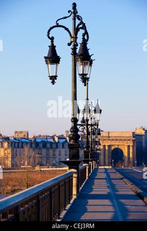 Pont de Pierre bridge crossing La Garonne River, Bordeaux, France. - Stock Photo