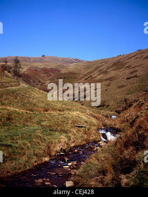 The River Noe flowing down From Edale Head at Jacob's Ladder Kinder Scout Edale Peak District National Park  Derbyshire - Stock Photo