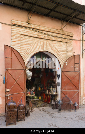 Shop selling metalwork lamps in the Medina district, Marrakech, Morocco, North Africa - Stock Photo
