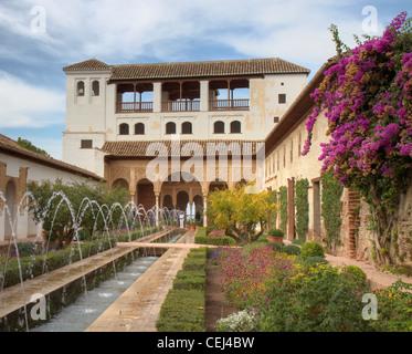 Patio de la Acequia of the Generalife, Granada, Spain - Stock Photo