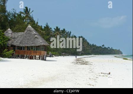 Restaurant on the beach in Bwejuu Zanzibar Tanzania - Stock Photo