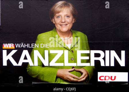 Election poster of the German party CDU for Angela Merkel to the Bundestag elections of 2009. - Stock Photo