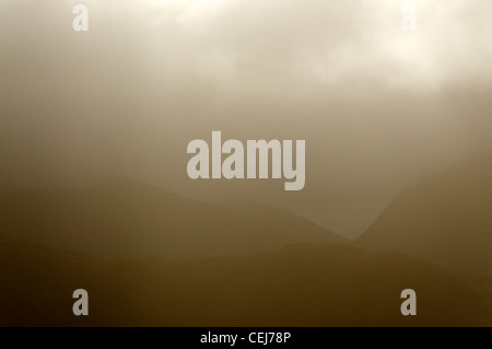 The Snowdon hills above Llanberis - Stock Photo