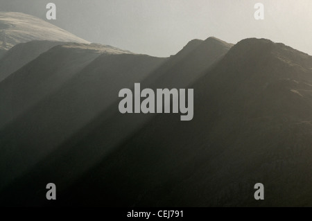 The Snowdon Range above Llanberis - Stock Photo
