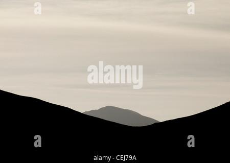 The Snowdon hills above Llanberis - Stock Photo