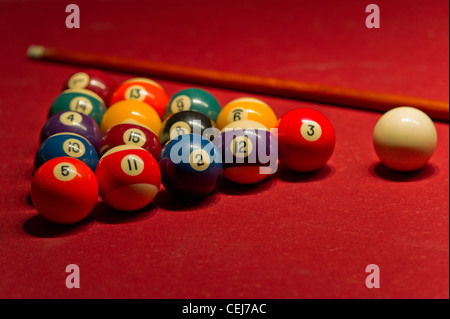 Balls racked up for a game of 8 ball pool - Stock Photo
