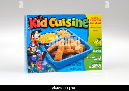 Kid's cuisine fish sticks tv dinner readymeal on white background isolate USA. - Stock Photo