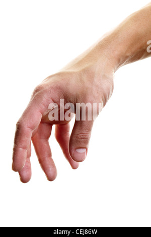 Human hand ready to take something or to switch something onoff against white background - Stock Photo