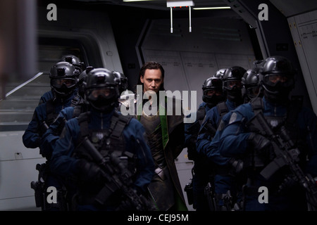 Nick Fury and the international agency S.H.I.E.L.D. bring together a team of super humans to form The Avengers to - Stock Photo