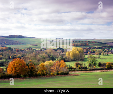 A view of the Wylye Valley in Wiltshire, England, photographed in autumn near the village of Steeple Langford. - Stock Photo